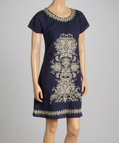 Navy Embroidered Shift Dress | Daily deals for moms, babies and kids