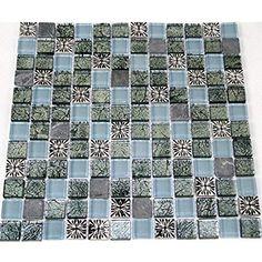Fliesen Mosaik Mosaikfliese Glas Blau Perlmutt Quadrat Bad Küche Mm - Glasmosaik fliesen blau