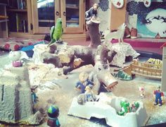 Tree log all characters and toys your children have. Spread flour all over shaving foam and glitter Christmas tray