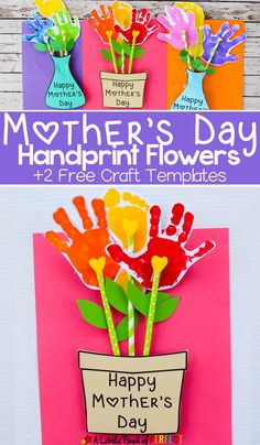 Adorable Mother's Day Handprint Flower Craft and Free Template – Adorable Mother's Day handprint craft and Free Template for children to make: You can choose a flower pot or a flower vase to put handprint flowers in that were made by Mom's favorite kids Kids Crafts, Kids Birthday Crafts, Easy Mother's Day Crafts, Mothers Day Crafts For Kids, Daycare Crafts, Mothers Day Cards, Baby Crafts, Toddler Crafts, Preschool Crafts
