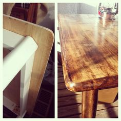 Table before and after a lot of grinding and staining. Let the stain dry for a while ans rub with a cloth. Grinding, New Homes, Kitchen, Table, House, Cooking, Home, Ribbons, Kitchens