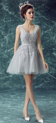Only $118.99, Prom Dresses Grey A-line V-neck Short Tulle Formal Dress With Appliques Lace #TJ100 at #GemGrace. View more special Special Occasion Dresses,Prom Dresses,Homecoming Dresses,Wedding Reception Dresses now? GemGrace is a solution for those who want to buy delicate gowns with affordable prices, a solution for those who have unique ideas about their gowns. 2018 new arrivals, shop now to get $10 off!