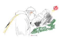 06-01-2018-Papa Francesco bacia statua Gesù bambino in San Pietro-disegno digitale con i pad pro-fonte ANSA
