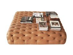 Photo gallery. Tufted leather pouf ...