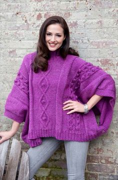 Cable and Bobble Poncho in Red Heart Super Tweed - LW3463