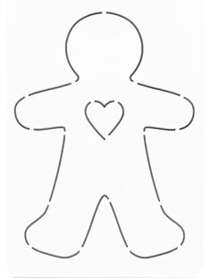 Gingerbread Man with Heart by Laundry Basket Quilts Christmas Ornament Template, Christmas Applique, Christmas Templates, Felt Christmas Decorations, Felt Christmas Ornaments, Christmas Gingerbread, Gingerbread Man Template, Laundry Basket Quilts, Christmas Stencils