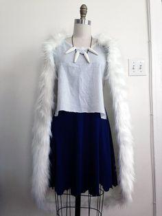 Princess Mononoke San Wolf Faux Fur Pelt Cape Only Cosplay White fur Costume Custom Made Handmade
