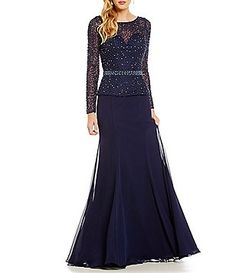 4dbce1b31f21 Terani Couture Beaded Faux Two-Piece Gown Two Piece Gown