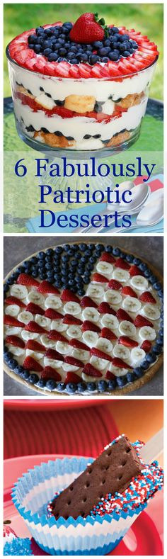 A collection of 6 fun and festive patriotic desserts for Memorial Day or 4th of July get-togethers this summer.