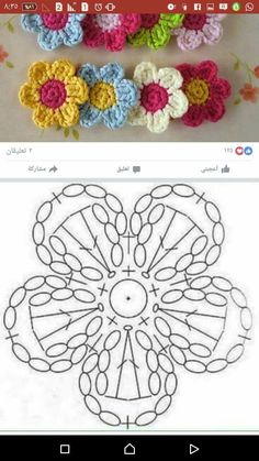 Crochet Mini Bead Flower String Tutorial-Video: How to crochet flower with bead? Flores Tejidas charts for Flox Carnations & Freesia Crochet Cherry Blossom It's Spring and around us Everything is becoming alive. Foto s van de muur van crochet 382 foto s Crochet Puff Flower, Crochet Flower Tutorial, Crochet Flower Patterns, Crochet Flowers, Knitting Patterns, Crochet Motifs, Crochet Diagram, Crochet Squares, Crochet Doilies