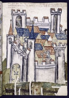 Full-page miniature depicting a city, from a German illuminated manuscript, circa 1450-1500. +
