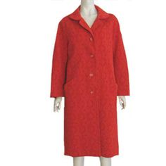 Sir Julian Vintage 1970s Red Dress Coat Textured L  #SirJulian