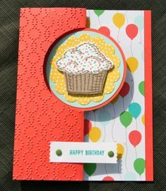 Stampin' Up! Sprinkles of Life Cucumber Watermelon by skdeleeuw - Cards and Paper Crafts at Splitcoaststampers Flip Cards, Fancy Fold Cards, Folded Cards, Kids Birthday Cards, Handmade Birthday Cards, Birthday Images, Birthday Quotes, Card Making Inspiration, Making Ideas
