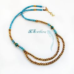 Two layered boho gold necklace, Tribal turquoise necklace, Golden beaded short necklace, Two strands woman necklace by MSwithlove on Etsy