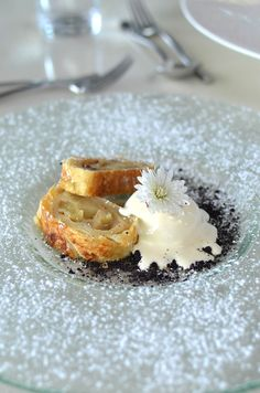 – Apple, raisin & walnut strudel with Amarula ice cream at Kapama Karula luxury safari lodge, South Africa - feature by heneedsfood.com