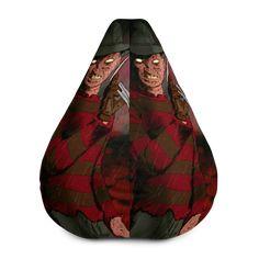 Freddy Krueger Nightmare on Elm Street All-Over Print Bean Bag Chair w/ filling Nightmare On Elm Street, Freddy Krueger, Fabric Weights, Bean Bag Chair, Vibrant, Horror, Beans, Comfy, Movie