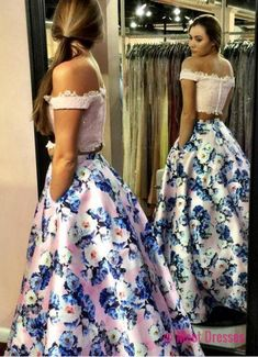 prom dresses,Fashion Two Piece Pink Prom Dress - Off the Shoulder with Lace Beading Floral PD20188373