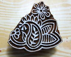 Paisley and Flower Indian Hand Carved Wood Stamp