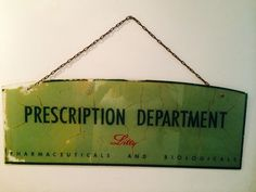 Original Antique Lilly Pharmaceuticals And Biologicals Glass Painted Sign