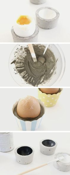 DIY instructions: making egg cups out of concrete / diy tutorial: egg holder made o . - DIY instructions: making egg cups out of concrete / diy tutorial: egg holder made of concrete via D - Cement Art, Concrete Crafts, Concrete Art, Concrete Projects, Cement Garden, Egg Holder, Cup Holders, Idee Diy, Egg Cups
