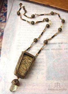 stag, banner & flora - Shrine to Medieval Art Amulet Necklace