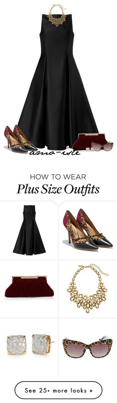 """Evening Dress - Plus Size"" by amo-iste on Polyvore featuring Adrianna Papell, Salvatore Ferragamo, Betsey Johnson, Oscar de la Renta and Kate Spade"