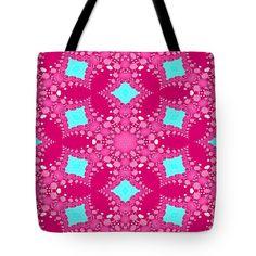 Pink Blue Fractal Floral Seamless Pattern Tote Bag For Sale By Lenka Rottova