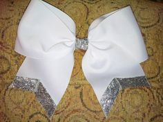 Cheer Bow  3 Inch Ribbon Glitter Cheer Hair Bow by bowsforthebelle, $5.50