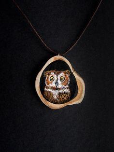 Hand painted wooden owl art pendant by hoyhenenkevytta on Etsy