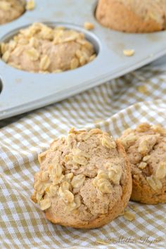 Maple and Brown Sugar Oatmeal Muffins (dairy free, egg free) | Mother Thyme