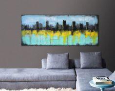 Acrylic Painting - Canvas Wall art - SKYLINE CITY LIGHTS / On canvas / Original Hand Made / Abstract Painting / Modern Art