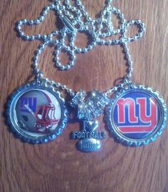 New York giants bottle cap necklace by LegacySportsJewelry on Etsy