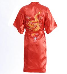 New Arrival Red Traditional Chinese Robe Men's Sleepwear Satin Embroidery Kimono Bath Gown Dragon Size S M L XL XXL S0103-C