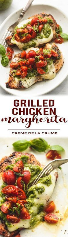 Easy, healthy grilled chicken margherita topped with melted mozzarella cheese, pesto, and tomato basil garnish.   lecremedelacrumb.com #Grillingrecipes #chickengrill