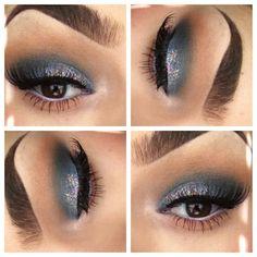 Grey glitter smokey eye