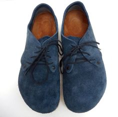 Birkenstock Maine Oxford Lace Up Denim Navy Blue Suede Casual Shoes Size 39  L8M6   eab8f0fb06e