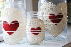 Doilies & Heart Jars - Valentine Day Mason Jars - Valentine Day Craft - Easy Valentine Day Craft with Jars