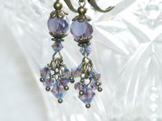 Crystal Earring   Swarovski Tanzanite ab by judysmithdesigns, $19.50