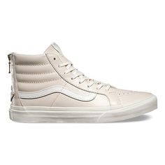 The Leather Sk8-Hi Slim Zip combines a slimmed down version of the legendary lace-up high top with a zipper entry at the heel, leather uppers, signature rubber waffle outsoles, and padded collars for support and flexibility.