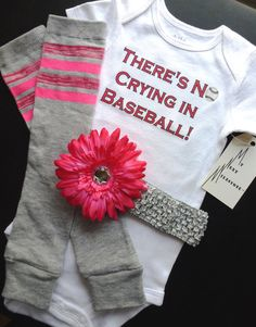 There's No Crying in Baseball bodysuit  Leg warmers and removable flower clip headband Set Pink Infant Baby Toddler Sizes