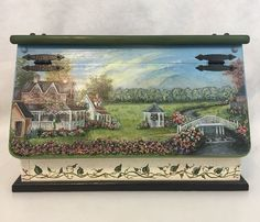 Vintage Wood Bread Box Hand Painted Country House Flowers Ivy Kitchen Shabby   | eBay