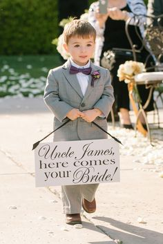 Adorable here comes the bride signs for the page boy to announce your arrival! Love this one for Uncle James. See more on Mrs2Be.ie!