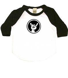 Rocker Baby Hand Sign Cool Baby Baseball Shirt 612 mo WhiteBlack >>> Check out the image by visiting the link.