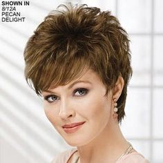 Shop our online store for short hair wigs for women. These natural hair and synthetic wigs fit mini petite, petite, average and large head sizes. Wig styles include straight, curly and wavy hair in your favorite pixie, bob or cropped hairstyle. Short Layered Haircuts, Thin Hair Haircuts, Layered Bob Hairstyles, Short Hairstyles For Women, Wig Hairstyles, Short Silver Hair, Very Short Hair, Short Hair Wigs, Short Hair Styles