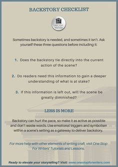 Checklists and Tip Sheets: BACKSTORY CHECKLIST | One Stop For Writers