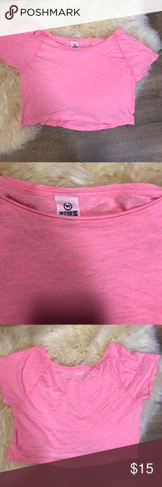 PINK Hot Pink Off The Shoulder Top PINK VS hot pink crop top PINK Victoria's Secret Tops Crop Tops