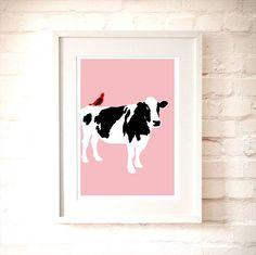 Cow On Pink Nursery Art Print