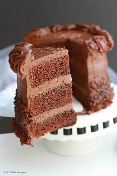 Ultimate Triple Chocolate Layer Cake - The best triple chocolate layer cake with the easiest milk chocolate frosting covered with mini chocolate chips. Makes the ultimate fudgy birthday dessert. Cake Recipes Bbc, Layer Cake Recipes, Dessert Recipes, Dessert Ideas, Cupcake Recipes, Cake Ideas, Triple Layer Chocolate Cake, Chocolate Frosting, Chocolate Cakes