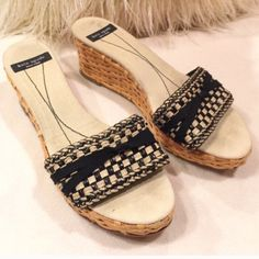 """Kate Spade♠️basket weave sandal Kate Spade♠️balck and sand color leather strap sandal with linen insole and basket weave wedge soles. These have some wear as seen, mostly wear is where foot lies so not noticeable while wearing. Fits TTS. 2.5"""" heel kate spade Shoes Sandals"""