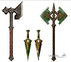 The Hobbit Battle Of The Five Armies concept art by Paul Tobin Fantasy Sword, Fantasy Weapons, Fantasy Art, The Elder Scrolls, Tolkien, Armadura Medieval, Battle Axe, Weapon Concept Art, Medieval Fantasy